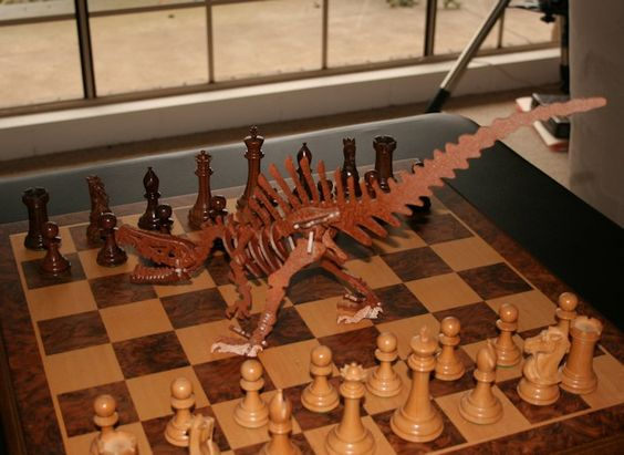 visit www.makeCNC.com to purchase this pattern Painted Spinosaurus on a Chess Board