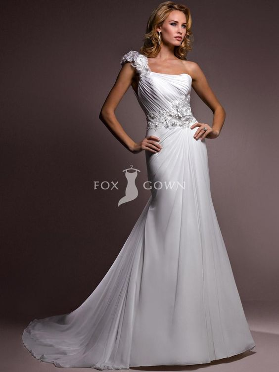 Ein-Schulter offenen Rücken Hochzeitskleid mit natürlichen Taille $434.99 Hochzeits http://www.dazukleider.de