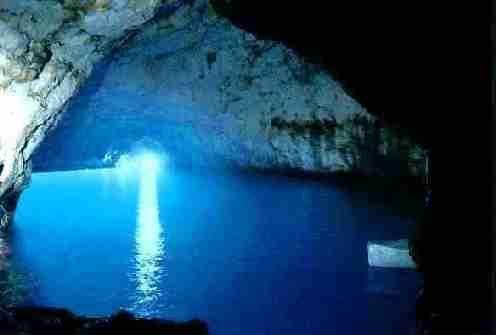 Blue Grotto in Capri, Italy.