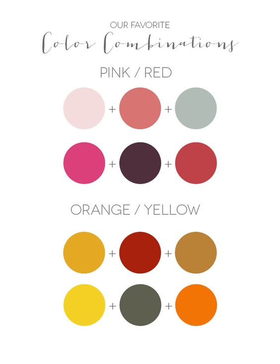 Wedding color combinations for pink, red, orange or yellow