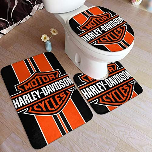 Emil R Tucker Harley Davidson Logo Bathroom Rug Mats Set 3 Piece Anti Skid Pads Bath Mat Contour Toilet Lid Cov In 2020 Harley Davidson Logo Padded Bath Mat Harley