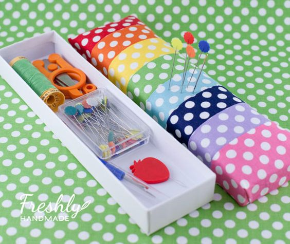 Necklace Box Pin Cushion by Stacy of Freshly Handmade ~ she brings you this great pin cushion tutorial that is not only easy, but super functional. She wanted to create a pin cushion that would also carry the essential notions needed for when she is hand-sewing quilt binding, etc. Love this recycling idea!:
