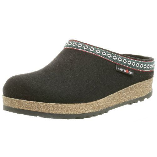"""Haflinger Unisex GZ Clog Haflinger. $93.95. Manmade sole. 100% Wool Felt Upper. Non-Skid Outsole. Cork-Latex Footbed with Arch Support. Heel measures approximately 1.5"""". Wool Felt Insole Lining. Wool. Contoured Heel Seat"""