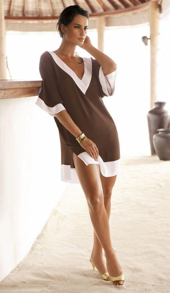 Cheap Vestido Verao 2015 V   cuello ocasional de la gasa de las mujeres del vestido de la playa del verano , sexy Bikini Cover Up , Moda Vestido de tirantes para las mujeres, Compro Calidad Vestidos directamente de los surtidores de China: