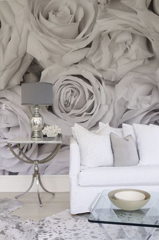 Flower, wall mural, grey and white couch, roses