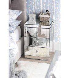 LUCIA Sängbord i Spegelglas med 3 Lådor