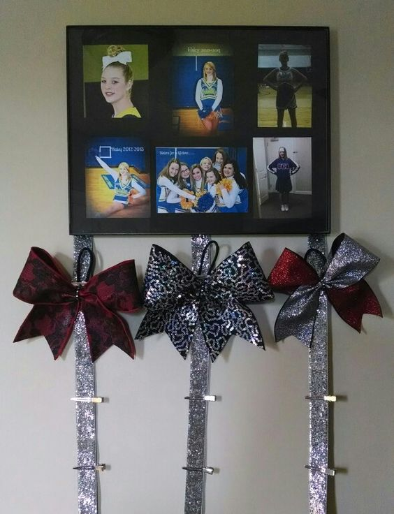 Cheer bow holder #3 for my niece Haley and the cheer bows I made for her birthday :)