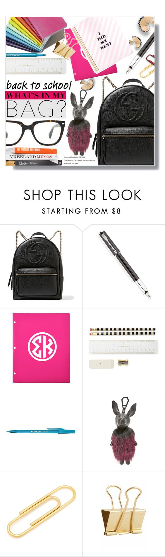 """""""Back To School: What's In My Bag?"""" by chocolate-addicted-angel ❤ liked on Polyvore featuring Gucci, Parker, Kate Spade, Paper Mate, Kendall + Kylie, Ox & Bull Trading Co., Holly's House, BackToSchool, backpack and 2016"""
