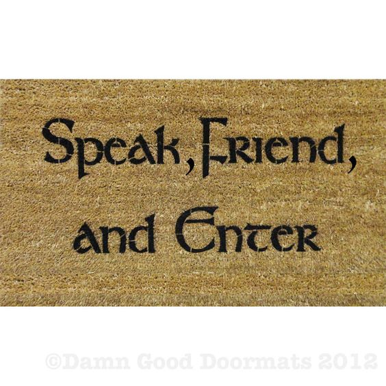 Tolkien speak friend and enter doormat geek nerd outdoor awesome geek culture and house - Geeky welcome mats ...