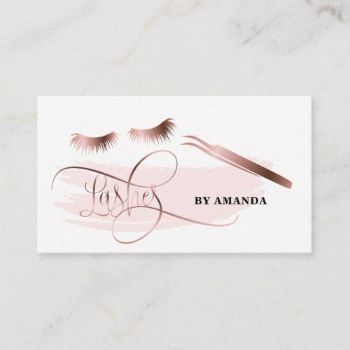 Makeup Eyebrow Eyes Lashes Rose Gold Business Card Zazzle Com Extensiones De Pestañas Tarjetas De Maquillaje Cejas Y Pestañas