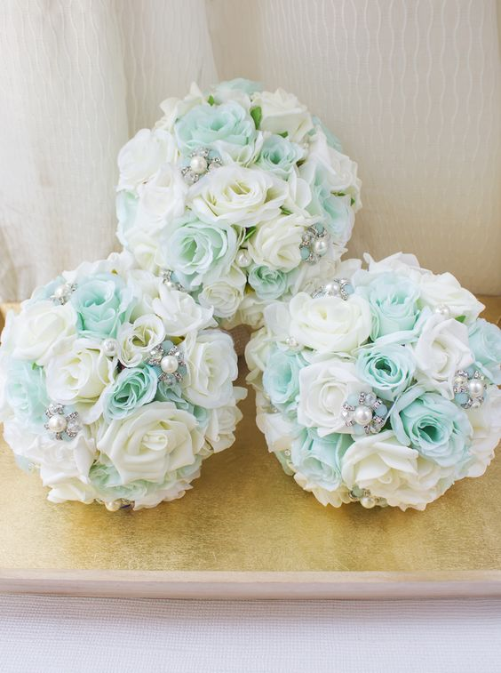 Mint Burlap Bridesmaids Bouquet. All bouquets are handcrafted in New York City and are made to order.