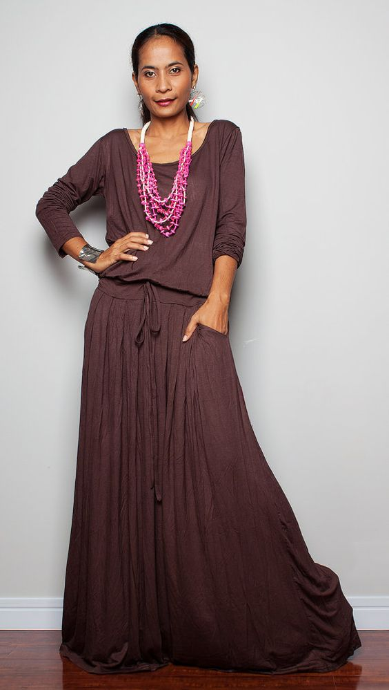 RESERVED - Dark Brown Maxi Dress - Long Sleeve dress : Autumn ...