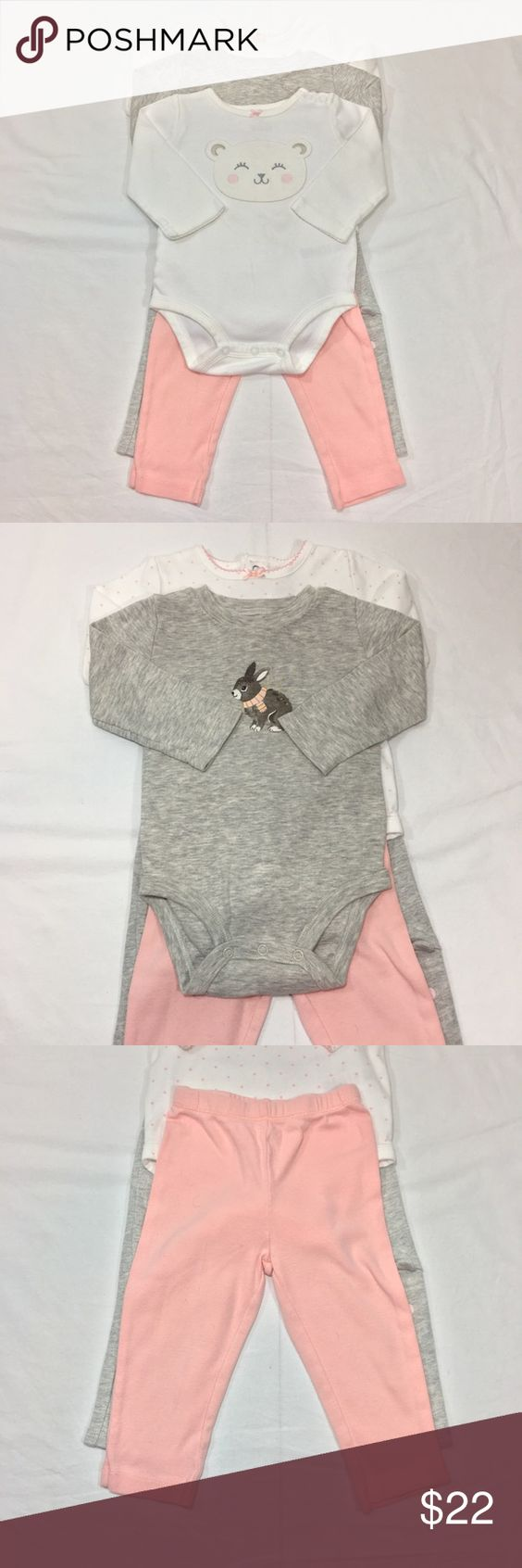 CARTER'S 5PC. ONESIE & PANT SET BUNDLE CARTER'S 5PC. ONESIE & PANT SET BUNDLE. THREE ONESIES, 2 PAIRS OF PANTS. FABRIC: COTTON. CONDITION: GENTLY USED/ SIGNS OF WEAR; MINOR PILLING. SIZE 12M Carter's Matching Sets
