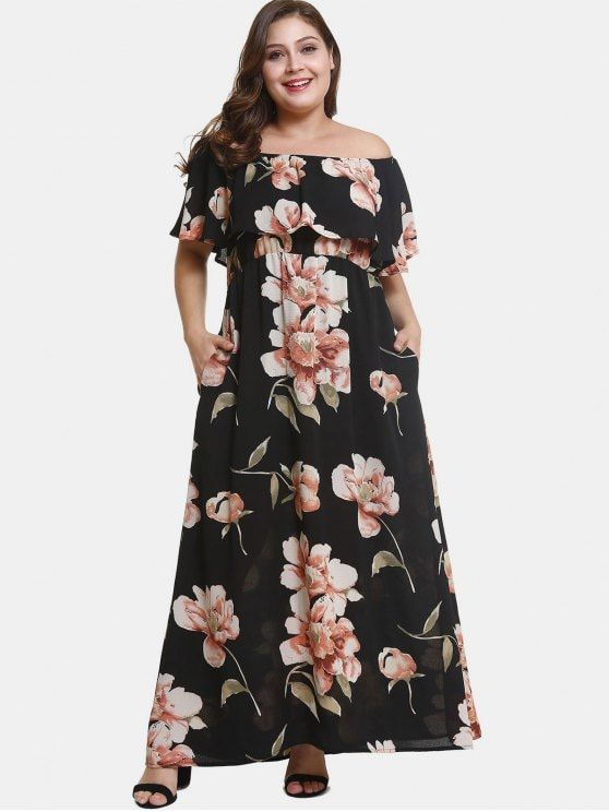 Off Shoulder Plus Size Flower Print Dress Black 1x Plussize Fashion Zaful Womenfashion Maxi Dress Floral Dress Casual Pink Maxi Dress