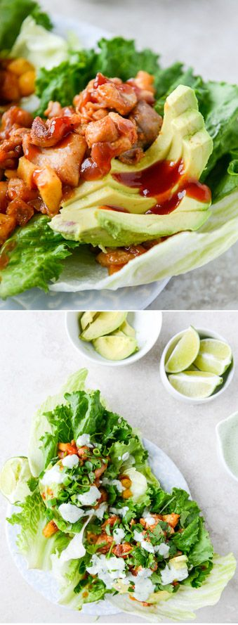 BBQ Chicken and Pineapple Lettuce Wraps I howsweeteats.com