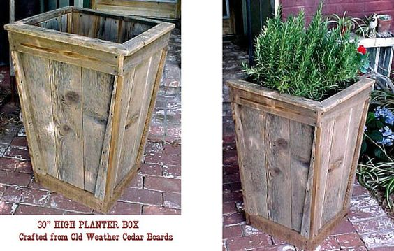big tall cedar planters and tall planters on pinterest. Black Bedroom Furniture Sets. Home Design Ideas