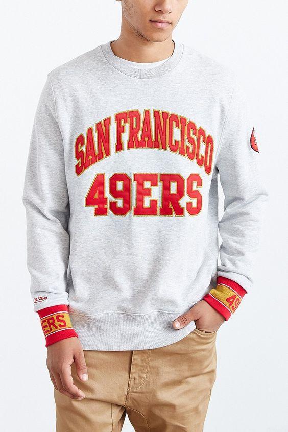 Mens San Francisco 49ers Gray Fleece Crew Sweatshirt