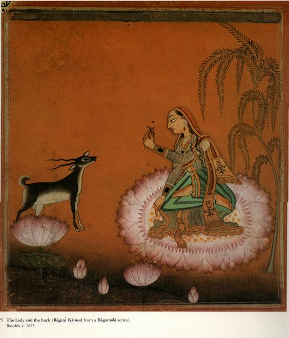 Ragini Kamod. Pahari paintings from the Himalayan foothills, 17th and 18th Century paintings from North Western India