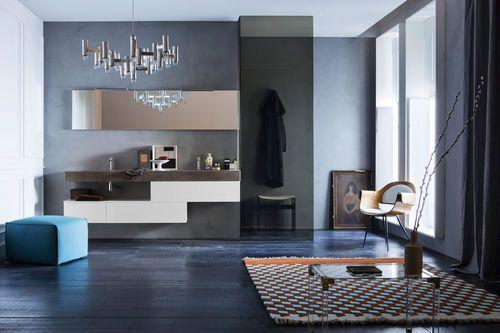 Mueble de lavabo moderno / laminado / suspendido / con espejo HARLEM 03 ARBI