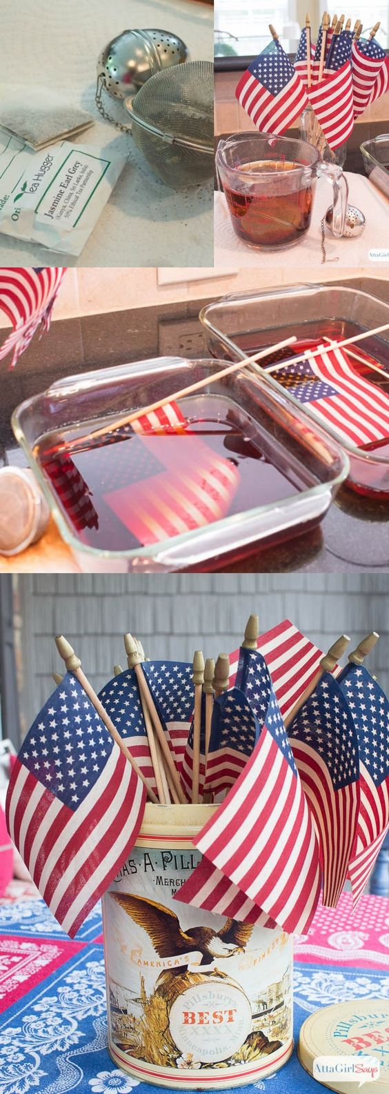 Atta Girl Says | DIY Tea-Stained Vintage American Flags | http://www.attagirlsays.com