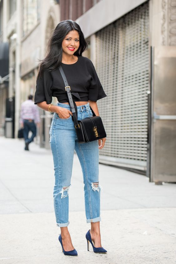 estilo casual com calça jeans claro