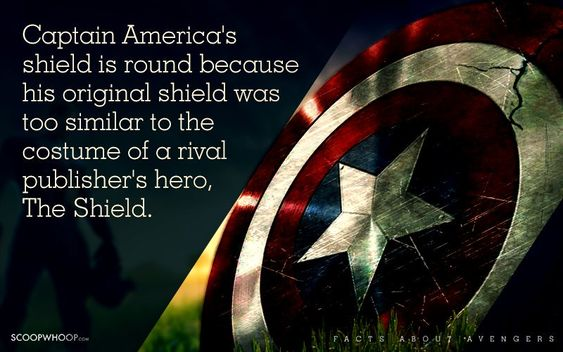 Captain America's shield is round because his original shield was too similar to the costume of a rival publisher's hero, The Shield.