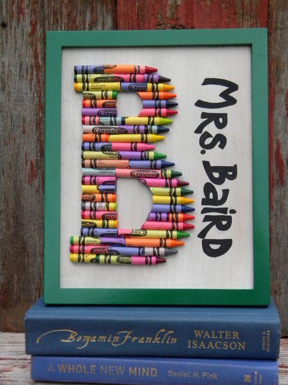 Monogram Crayon Art Cute Teacher Gifts Classroom And So