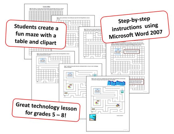 Create A Maze Technology Lesson For Ms Word  Grades