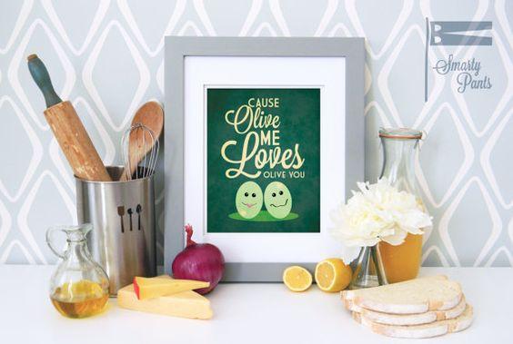 Print Art cuisine drôle, citation d'Olive affiche, Art de la cuisine, cuisine Print, décor de la cuisine drôle 8 x 10