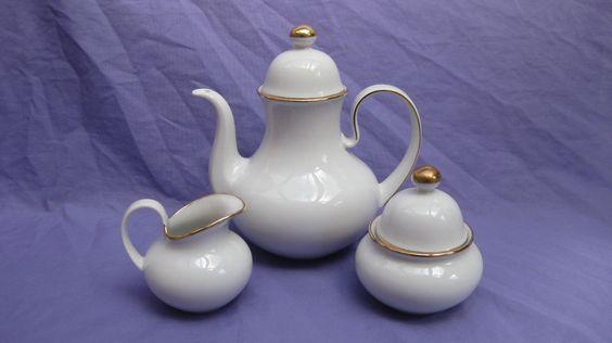 Seltmann Weiden Stylish Coffee Pot, Sugar Bowl & Cream Jug ~ Fine Porcelain Gold | eBay