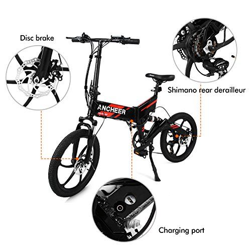 """Ancheer 20"""" Foldable Aluminum Alloy Electric Folding Mountain Bike Cycling 36V"""