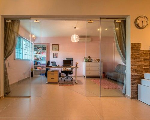 Study Table Behind Glass Sliding Doors Interior Design Singapore Design Interior Design