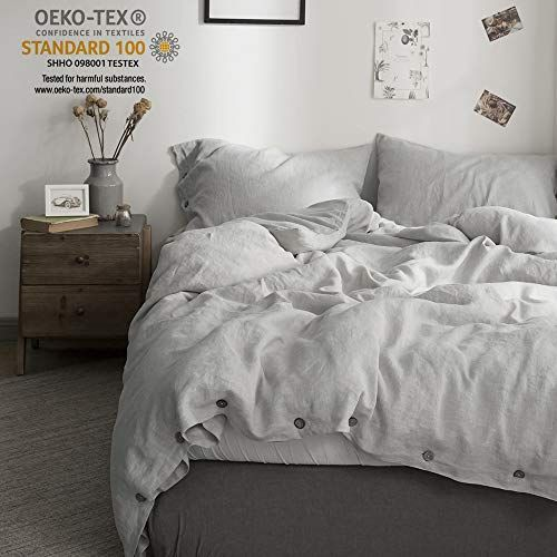 Simpleopulence 100 Washed Linen Coconut Wood Deduction Solid Grey Bedding Set With 1 Duvet Cover 2 Pill Linen Duvet Covers Linen Duvet Washed Linen Duvet Cover