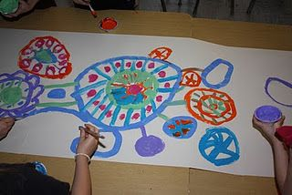 circle painting...can be done as class mural...
