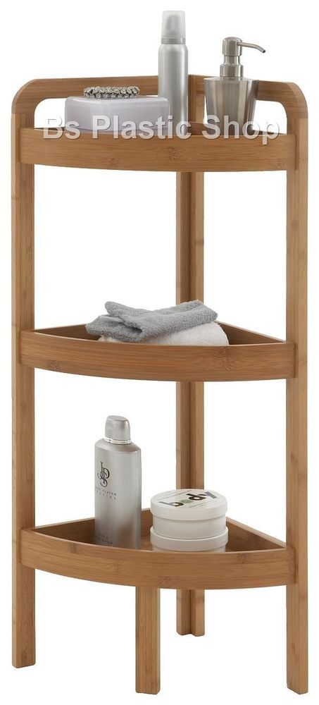 Details about 3 tier bamboo wooden corner shelf storage for Wooden bathroom shelving unit