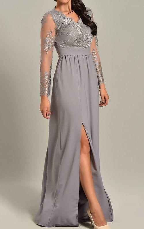 Gri Uzun Yirtmacli Gupur Dantel Abiye Elbise Maksi Elbiseler Nedime Giysileri Elbise