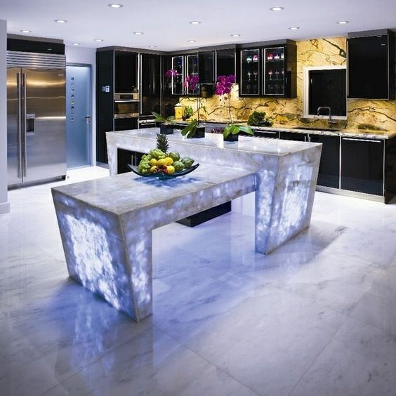 Arbeitsplatte Küche aus Beton modern stilvoll LED Beleuchtung ...