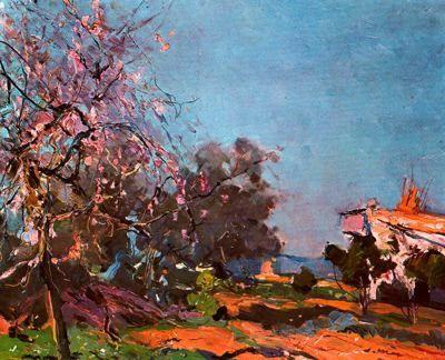 "Joaquim Mir Trinxet (1873-1940). ""Ametller florit"". Óleo sobre tela. 38,5 x 46 cm. Colección J. María Argente, Barcelona. Catalunya."