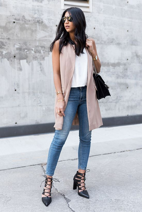 summer outfit, casual outfit, street chic style - beige long vest, white cami top, skinny jeans, black lace up heels, black shoulder bag, black aviator sunglasses