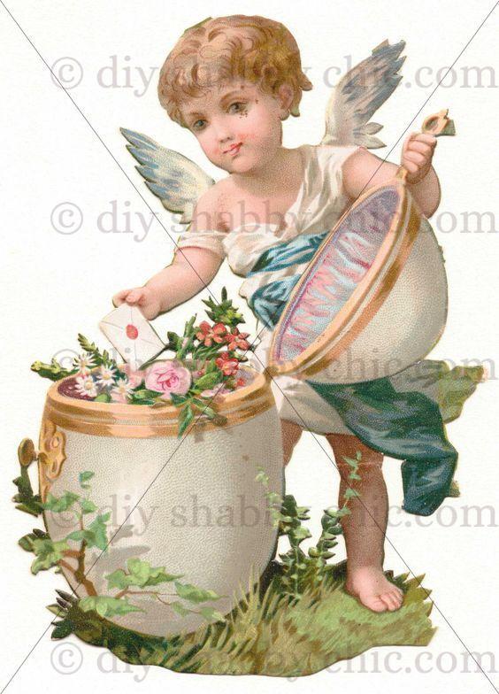 Furniture Decal Image Transfer Vintage Cupid Angel Hearts Love Valentines Labels