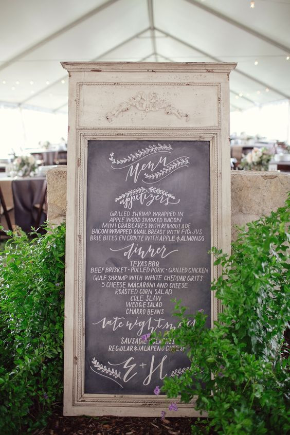 I want this entire menu for my wedding! And of course, I love the old mirror turned into the chalkboard.