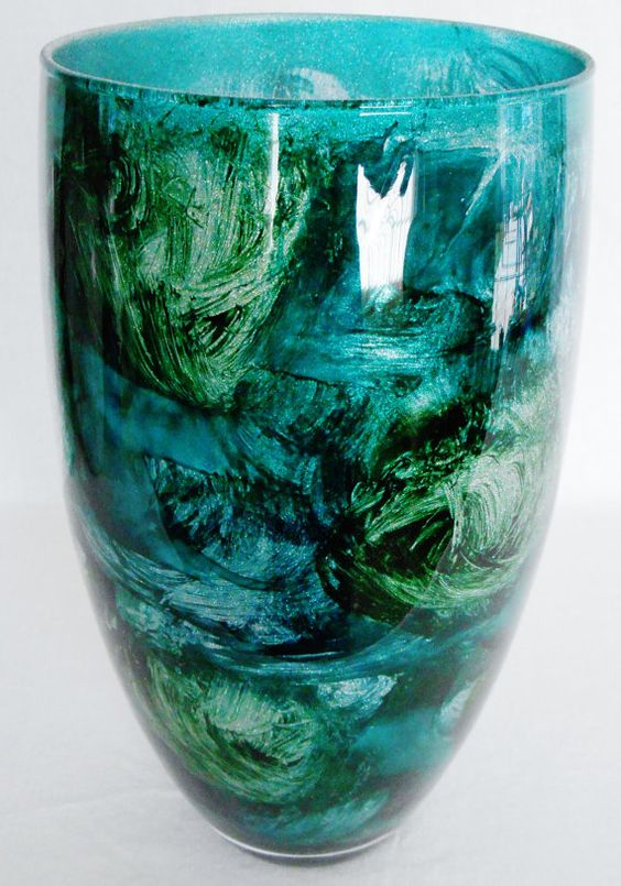 Vintage Multi Shades Of Teal With Silver Sparkle Art Glass Vase Vintage Teal Art Glass Vase