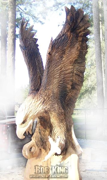 Chainsaw carving by bob king an eagle carved in a