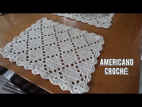 Jogo Americano Em Croche Lindo E Facil De Fazer Pontos Basicos Youtube Jogo Americano De Croche Supla De Croche Quadrado Sousplat De Croche Quadrado