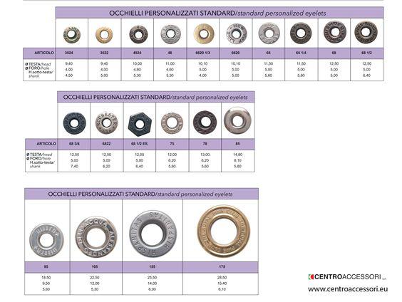 Occhielli personalizzati Standard. Standard personalized eyelets. #CentroAccessori