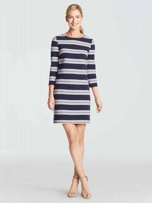 Ottoman Stripe Knit Shift Dress   Draper James