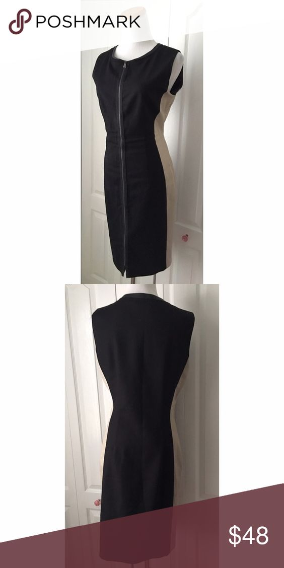 "T Tahari zipper front sheath dress Length 39"" UA to UA 19.5"" Cotton/Poly/Elastane like new condition T Tahari Dresses"
