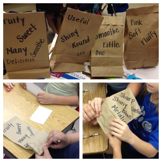 adjectives mystery bag each gets a brown paper bag with a mystery item inside