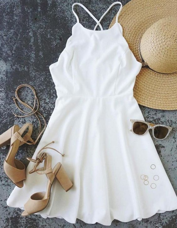 white summer dress + lace up heels