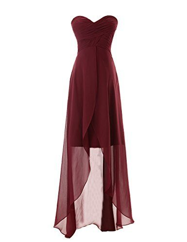 Sweetheart High-low Chiffon Bridesmaid Dress Burgundy High-low Chiffon Bridesmaid Dress Simple Sweetheart Neckline Dark Wine Red Bridesmaid Gowns: